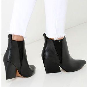 Report Signature Myrna Black Leather Wedge Booties